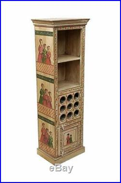 Nice object INDIA cabinet w wine bottle holder & royal court painting D ED 11-58
