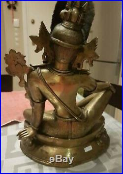 ON SALE! ANTIQUE BRONZE INDRA SEATED IN ROYAL EASE! 32cm