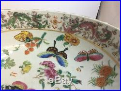 Old Antique Chinese Famille Rose Washstand Bowl Imperial Dragons c1800s Qing