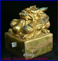 Old China Bronze Gilt Dragon Loong Beast Ball imperial Seal Stamp Signet Statue