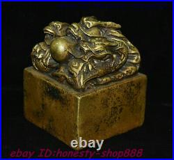Old China Dynasty Bronze Gilt Dragon Loong Beast Ball imperial Seal Stamp Signet
