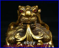 Old China Dynasty Bronze Inlay Gem Dragon Loong Beast imperial Seal Stamp Signet
