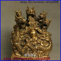 Old China Dynasty Palace Copper Bronze 9 Dragon Beast imperial Seal Stamp Signet