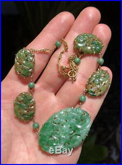 Old Chinese 14k Gold Carved Green Imperial Jadeite Jade Pierced Floral Necklace
