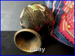 Old Chinese Cloisonné Five Clawed Imperial Yellow Dragon Vase beautiful collect