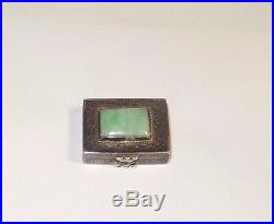 Old Chinese Silver White & Imperial Green Jade Pill Box