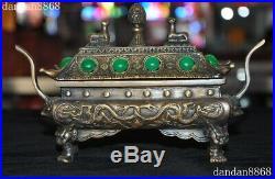 Old Royal dynasty Bronze Inlay green jade gem Dragon beast Incense burner Censer