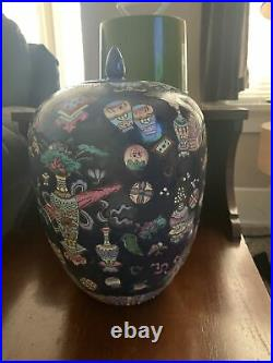 Original Vintage Antique Chinese Imperial Famille Noir Porcelain Vase Ginger Jar