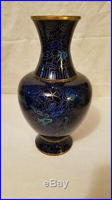 PAIR (2) of Chinese IMPERIAL Dragon & Bird CLOISSONE Vases COBALT BLUE 10 Tall
