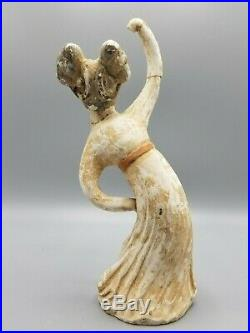 Pair Ancient Chinese Pottery Imperial Dancers Tomb Figures Mingqi Tang Dynasty