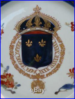Pair Antique Japanese Porcealin French Royal Armorial Chinese Exportware Plates