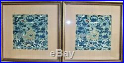 Pair Chinese Imperial Rank Badges 4 Clawed Dragon Silk Textile Qing Dynasty