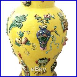 Pair Chinese Large Imperial Yellow 100 Antiquities Baluster Vases with Lids