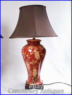 Pair Chinese Porcelain Table Lamps Imperial Red Lighting