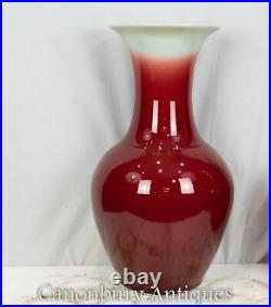 Pair Chinese Porcelain Vases Imperial Red Urns
