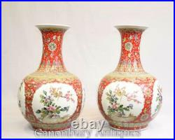 Pair Chinese Porcelain Vases Urns Imperial Red Shangping
