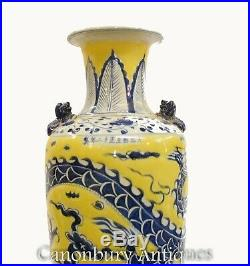 Pair Imperial Yellow Chinese Porcelain Ming Urns Painted Dragon
