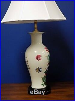 Pair Of 32 Chinese Porcelain Vase Lamps Imperial White Fish And Water Lilies