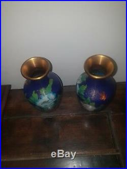 Pair Of Antique Vintage Royal Sapphire Blue Cloisonne Vases Chinese 20cm Tall