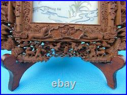 Pair Of Chinese Sandalwood Fretwork Photo /Picture Frames Imperial Dragon Box