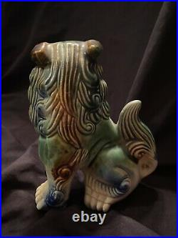 Pair Vintage Chinese Foo Dogs Fu Lions Imperial Guardian Ceramic Asian Feng Shui