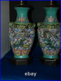 Pair of 19th Century Antique Chinese Vases Imperial 5 toe Dragon
