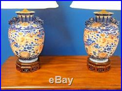 Pr 34 High End Chinese Porcelain Vase Lamps 9 Imperial Dragons Blue-white-red