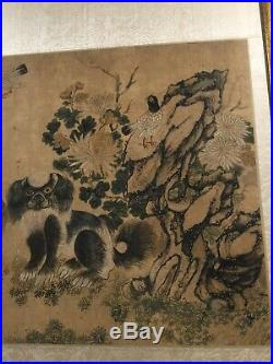 QIANLONG SEAL signed CHINESE IMPERIAL SCROLL PAINTING FOO DOGS BIRDS TREE