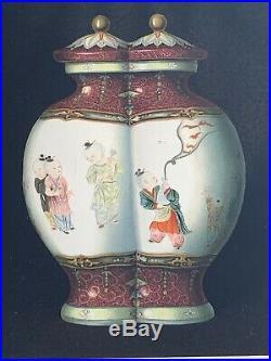 QianLong Chien lung Imperial Fencai Falangcai Double Vase Rose Famille Art j8