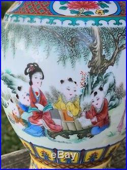 QianLong Chien-lung Imperial Fencai Falangcai Vase of Great Qing Dynasty j8