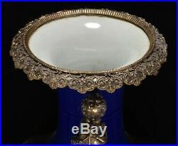 Qing Antique Red &Blue Glaze Porcelain Copper Inlay Kid Royal Flower Vase Bottle