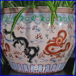 Qing Dynasty Flag Fishbowl Imperial Dragons Enameled Pottery Large Cachepot