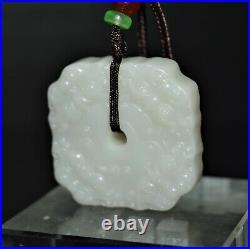 Qing Dynasty Imperial jade studio artwork devil remover fat-square pendant