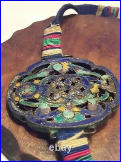 RARE Antique Mandarin Court Necklace 19th Century Qing Dynasty Enamel and Silver