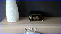 RARE CHINESE EXPORT LACQUER TEA CADDY WITH IMPERIAL SCENES 19th c