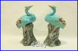 RARE Pair of Royal Herons in Chinese Porcelain Polychromatic XX 12 cm