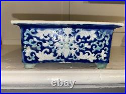 Rare 1700 Qianlong Jiaqing Qing Blue Ground Imperial Landscape Cartouche Planter