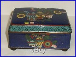 Rare 19th Century Chinese Cloisonne Royal Blue Enamel Old Humidor Jar Box