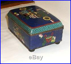 Rare 19th Century Chinese Cloisonne Royal Blue Enamel Old Humidor Jar Box