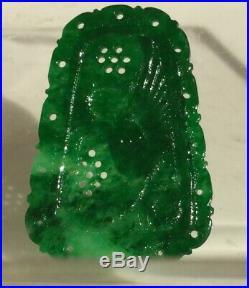 Rare Antique Beautiful Jade-Jadeite Apple Green Imperial Thin carving pendant