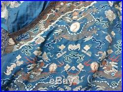 Rare Antique Chinese Imperial Kesi Kossu Embroidery Nine Dragon Robe Bats