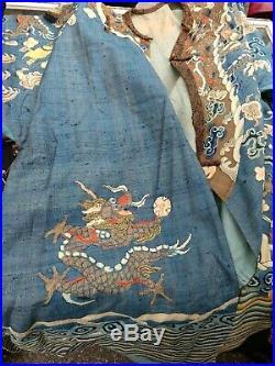 Rare Antique Chinese Imperial Kesi Kossu Embroidery Nine Dragon Robe Qing