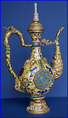 Rare Antique Imperial Yellow Teapot Gold Dipped Large Antique Jades