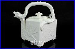 Rare Antique Royal Worcester Chinese Dragon Aesthetic Teapot Blanc De Chine
