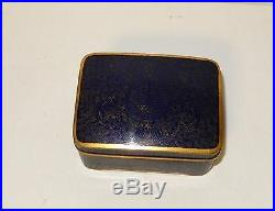 Rare Chinese Cloisonne Royal Blue Enamel Small Humidor Jar Box