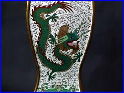 Rare Chinese Cloisonne Triangular Vase With Stand Three Imperial Dragons Deco