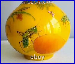 Rare Chinese Peking Glass Enamel Vase Grasshoppers, Bugs, Floral Imperial Yellow