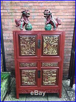 Rare Imperial Red Lacquer & Gilt Marriage Cabinet With Hand Carved Panels
