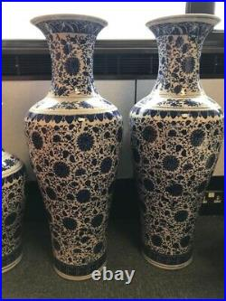 Rare Ming Style Royal Blue and White Vases