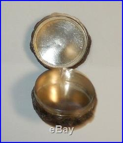 Rare Old Chinese Silver White & Imperial Green Jade Pill Box